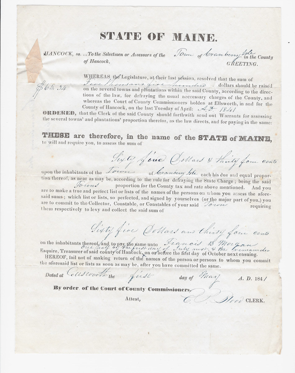 Town of Cranberry Isles records - 1841