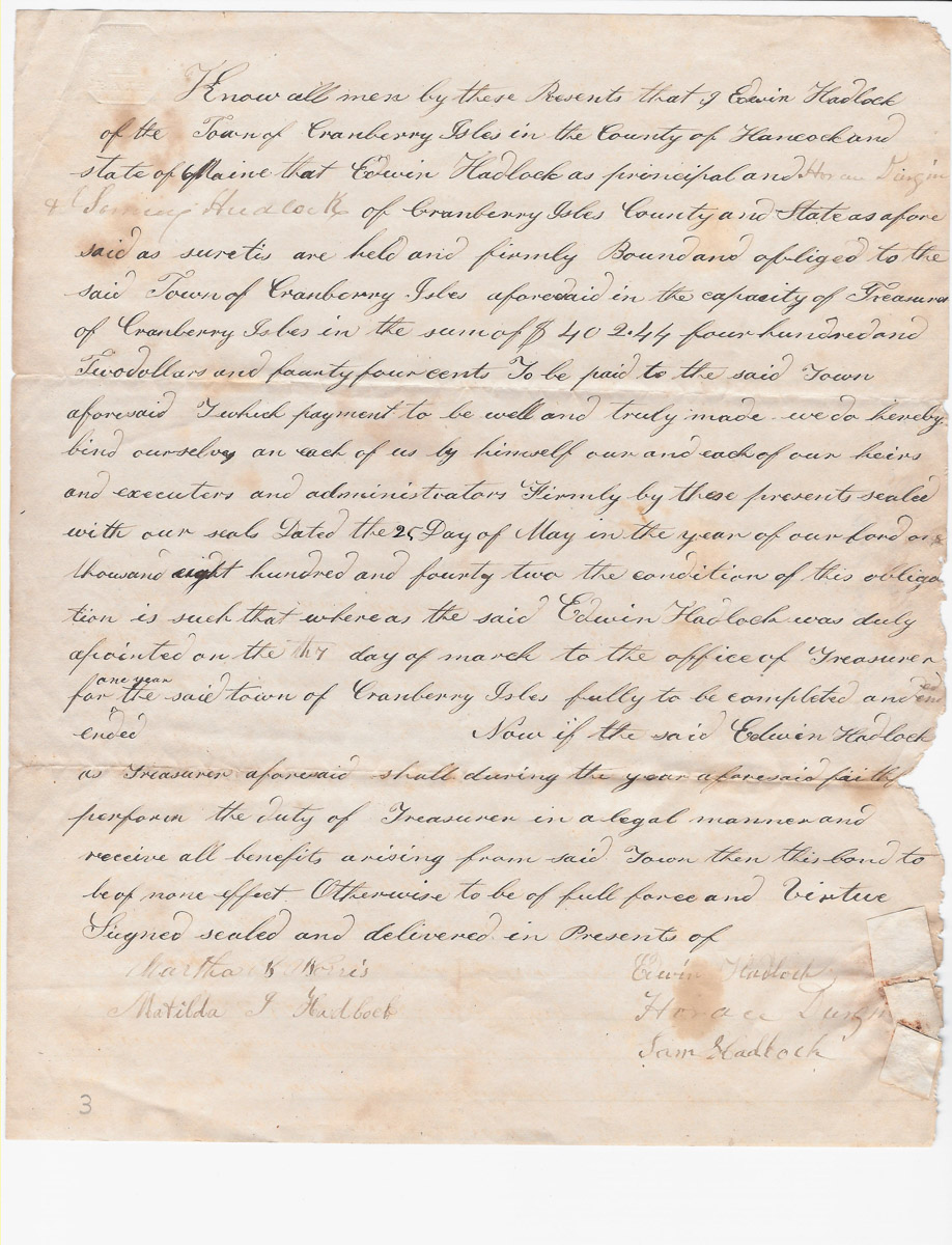 Town of Cranberry Isles records - 1842