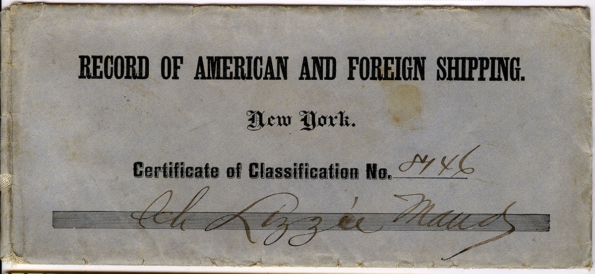 Record of American and Foreign for shipping Lizzie Maud 1890