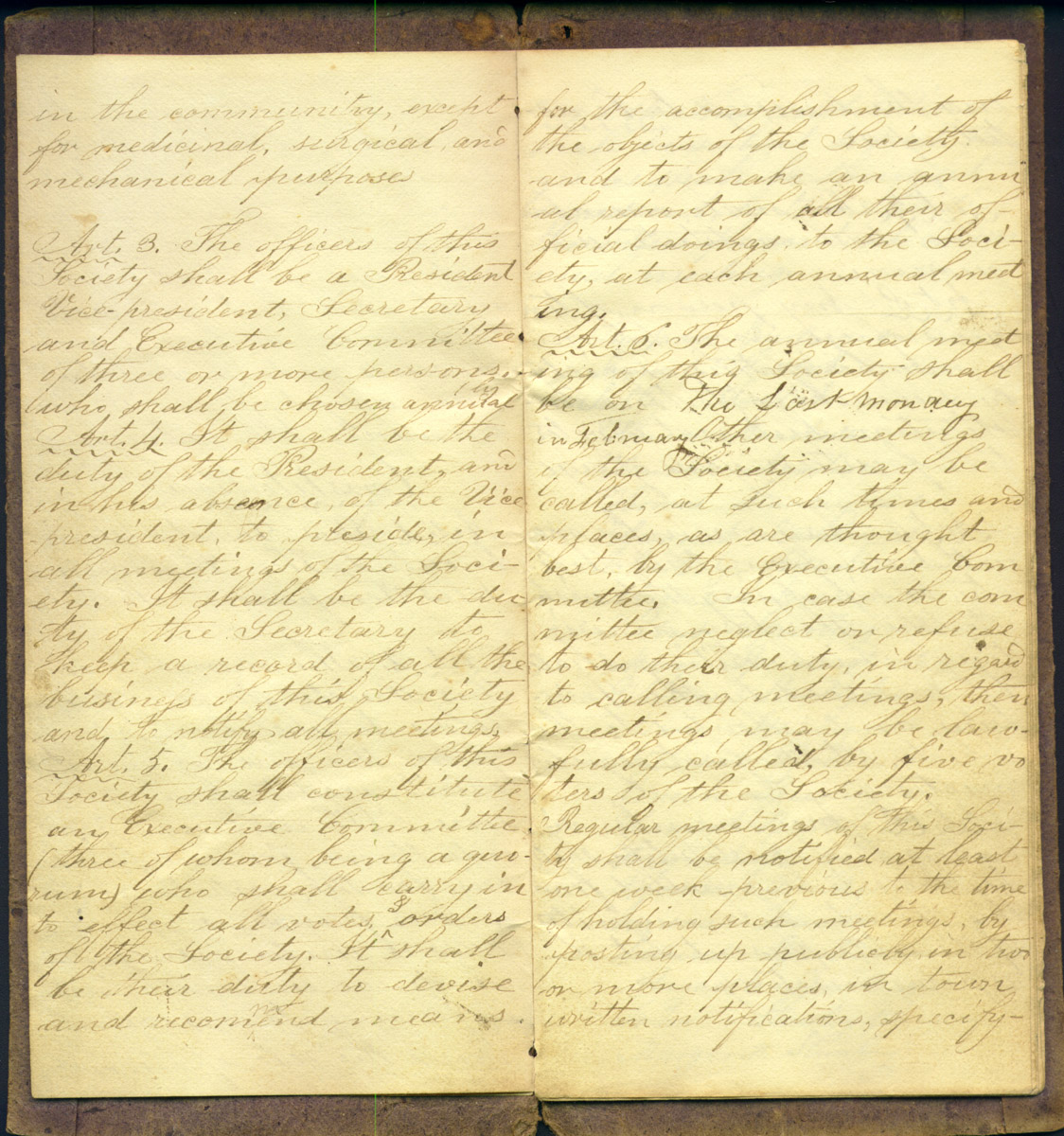 Constitution and Founders of the Cranberry Isles Temperance Society circa 1840